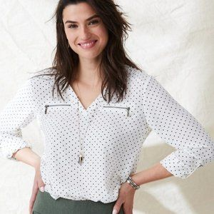 Maurices White Long Sleeve Blouse Black Polka Dots